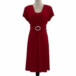 R&M Richards Red A-Line Short Sleeve Midi Dress 16